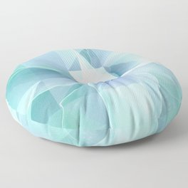 Soft Geo Agave - Aqua and blue Floor Pillow