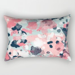 Isla - abstract painting navy mint coral trendy color palette summer bright decor Rectangular Pillow