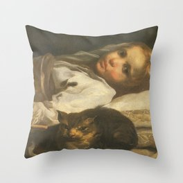 Cat in the art -Bernhardt keil – The cat and the girl Throw Pillow
