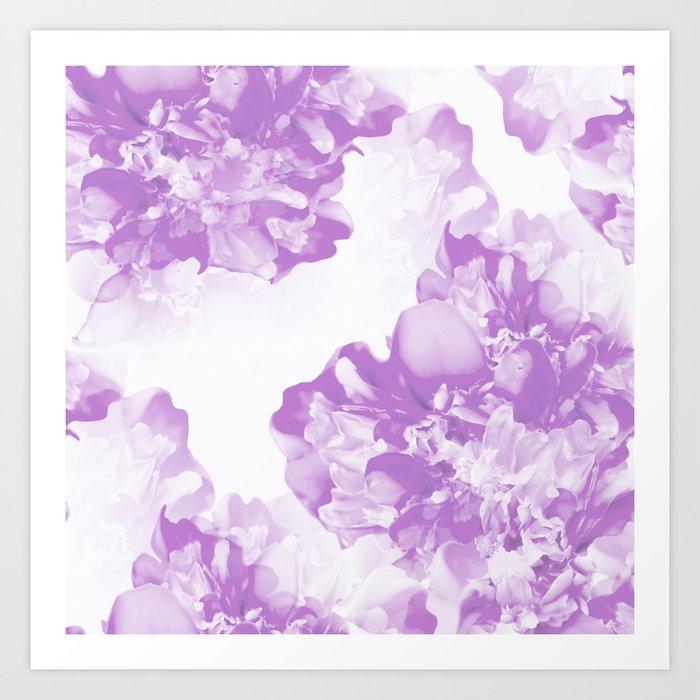 Beautiful Peony Flowers White Background Pastel Purple Version Decor Society6 Buyart Art Print By Pivivikstrm Society6