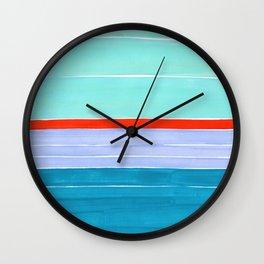 Pastel Blue Orange Colorful Rothko Minimalist Mid Century Modern Color Fields Stripes by Ejaaz Haniff Wall Clock
