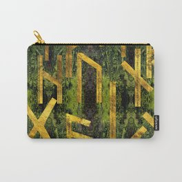 Vintage Gold Runic alphabet on tree bark Carry-All Pouch