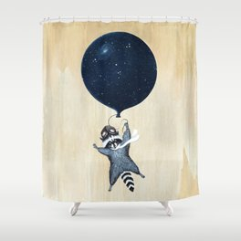 Raccoon Balloon Shower Curtain
