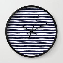 Navy Blue and White Horizontal Stripes Wall Clock