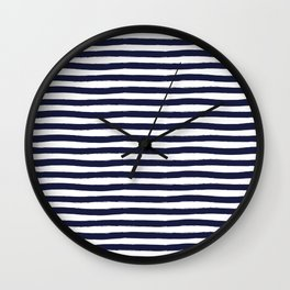 Navy Blue and White Horizontal Stripes Wall Clock