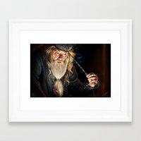 dumbledore Framed Art Prints featuring Dumbledore by Lara Cremon