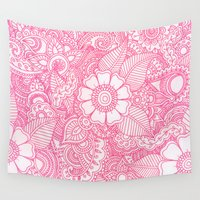 henna Wall Tapestries featuring Henna Design - Pink by haleyivers