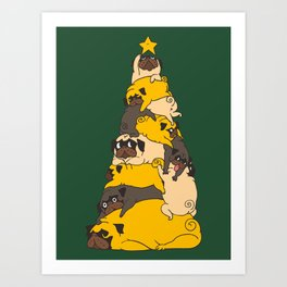Christmas Tree Pugs Art Print