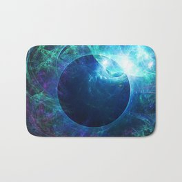 Abstract colorful shiny print graphic with planet space Bath Mat