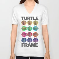 frame V-neck T-shirts featuring Turtle Frame by Galvanise The Dog
