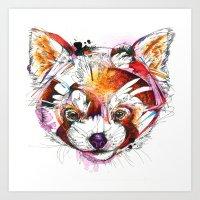 red panda Art Prints featuring Red Panda  by Abby Diamond