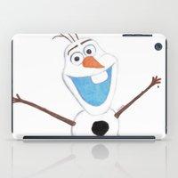 olaf iPad Cases featuring olaf likes warm hugs  by Art_By_Sarah