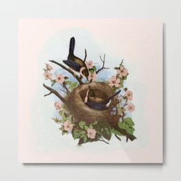 Vintage Birds with Nest Pink Metal Print