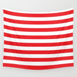 Horizontal Red Stripes Wall Tapestry