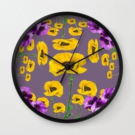 LILAC ANEMONES YELLOW POPPY FLOWERS ON GREY Wall Clock