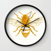 preppy Wall Clocks featuring Bee Preppy by Megan Carn