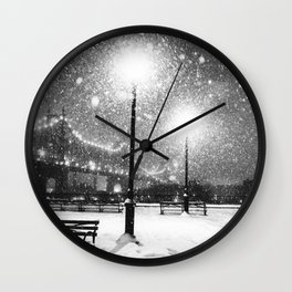New York City Night Snow Wall Clock