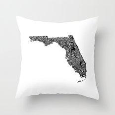Typographic Florida Throw Pillow