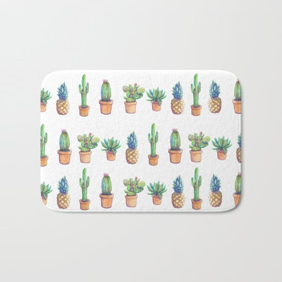 cactus and pineapples white! Bath Mat