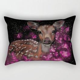 Little roe deer in pink blossoms  Rectangular Pillow