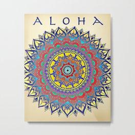 """Vintage Inspired """"Aloha"""" Mandala Print Metal Print"""