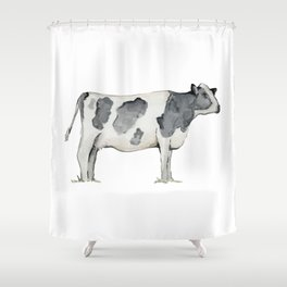 Cow, Watercolor Painting, Rustic Farmhouse Shower Curtain