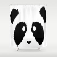 boobs Shower Curtains featuring Panda Boobs by Lizard Illustration