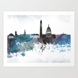 Washington Bluish Skyline Art Print
