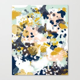 Sloane - Abstract painting in modern fresh colors navy, mint, blush, cream, white, and gold Canvas Print