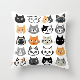 Cute Cats | Assorted Kitty Cat Faces | Fun Feline Drawings Throw Pillow