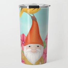 gnome with yellow warbler and petunias Travel Mug