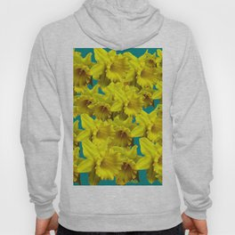 YELLOW SPRING DAFFODILS ON TEAL COLOR ART Hoody