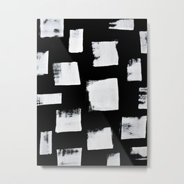 Marshmallows: a minimal abstract black and white square mudcloth pattern by Alyssa Hamilton Art Metal Print