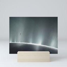 128. Illustration of Cassini Spacecraft Diving Through Plume of 'Ocean World' Enceladus Mini Art Print