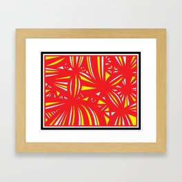 Huckeba Abstract Expression Yellow Red Framed Art Print