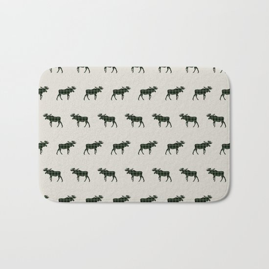 Moose Buffalo Plaid forest camping glamping outdoors forest bathing Bath Mat