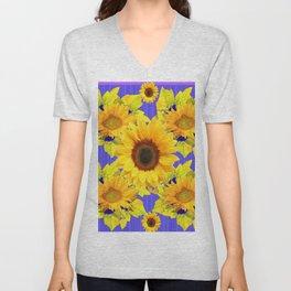 Golden Sunflower Pattern Floral Purple Shades Unisex V-Neck