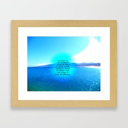 Serenity Prayer With Blue Ocean and Amazing Sky Framed Art Print
