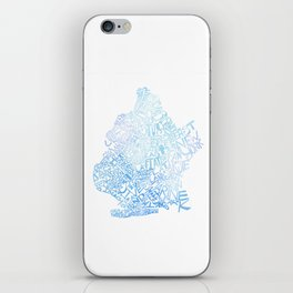 Typographic Brooklyn - Blue Watercolor map art iPhone Skin