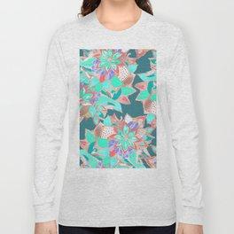 Modern aqua teal rose gold floral illustration Long Sleeve T-shirt