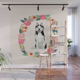 husky floral wreath spring dog breed pet portrait gifts Wall Mural