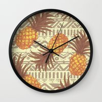 pineapples Wall Clocks featuring pineapples by Julia