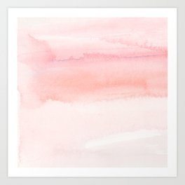 Blush pink hand painted watercolor paint gradient Art Print