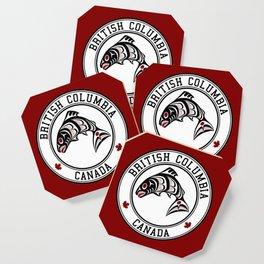 Native American Red Black Graphic Vector Salmon Coaster