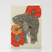 ornate elephant Stationery Cards featuring The Elephant by Valentina Harper