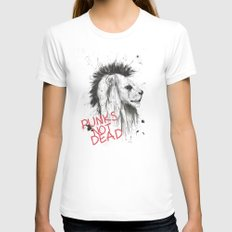 punks not dead LARGE White Womens Fitted Tee