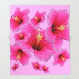 GIRLY TROPICAL PINK HIBISCUS ART Throw Blanket