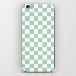 Gingham Nebula Pastels Green Mint Checked Pattern iPhone Skin