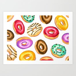 Colorful donut party pattern in watercolor Art Print