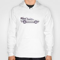 delorean Hoodies featuring Famous Car #2 - Delorean by Florent Bodart / Speakerine